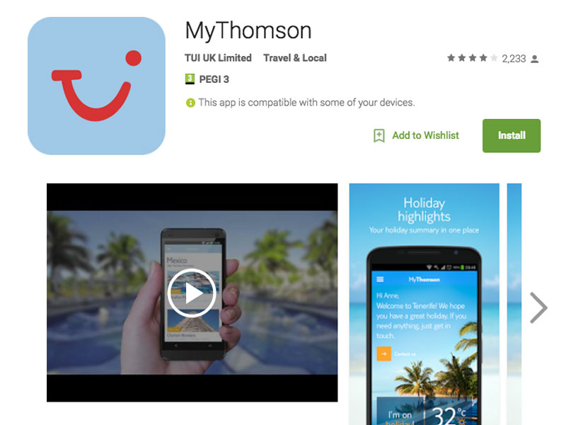 MyThomson, MyFirstChoice, TUI mobile app developer